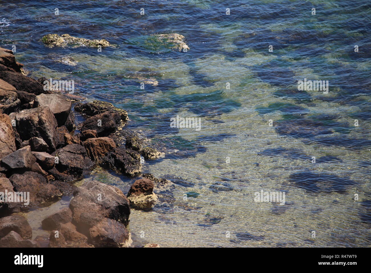Rocks in the clear ocean Red Bluff beach Melbourne - Stock Image