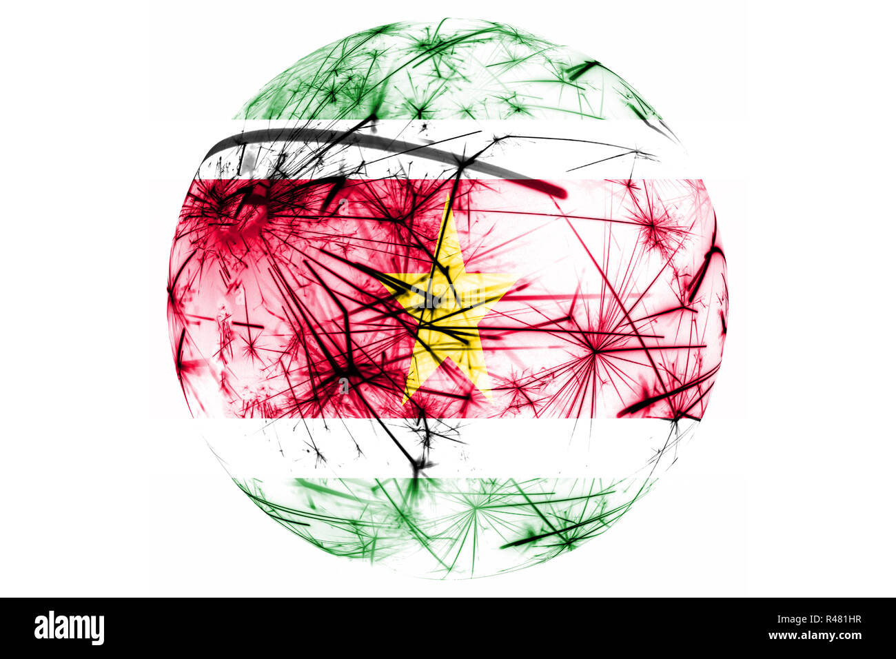 Suriname fireworks sparkling flag ball. New Year, Christmas and National day ornament and decoration concept - Stock Image
