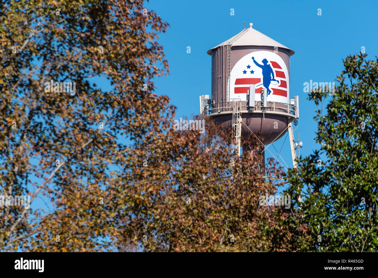 Water tower at Jack C. Montgomery VA Medical Center in Muskogee, Oklahoma. (USA) Stock Photo
