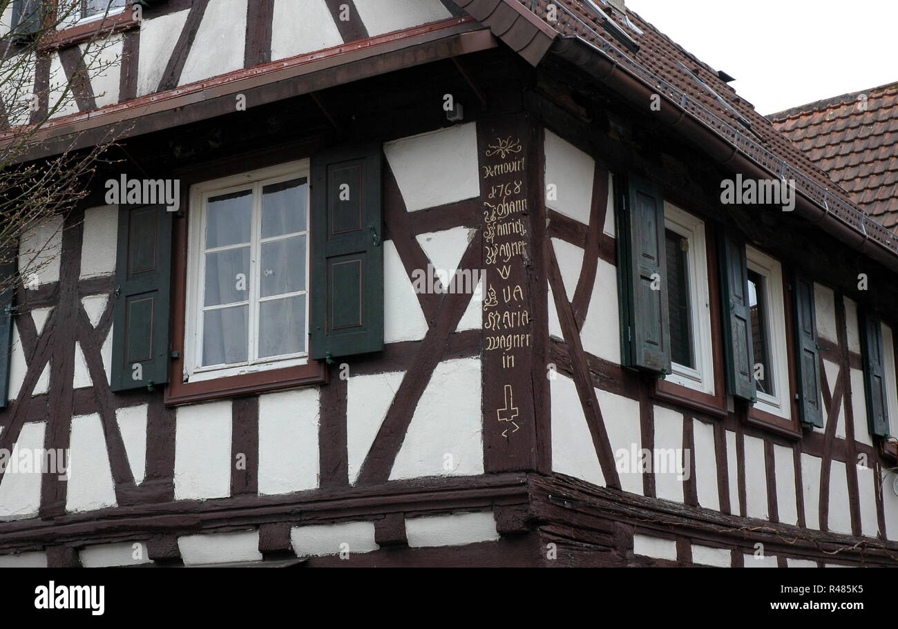 half-timbered house in kandel in the palatinate Stock Photo