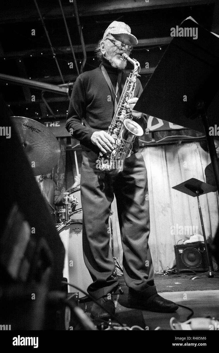 Jazz saxophonist Marshall Allen performing at The Hideout in Chicago, Illinois, in 2011. - Stock Image