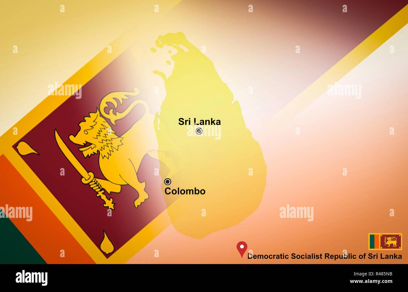 Sri Lanka map and Colombo with location map pin and Sri Lanka flag ...