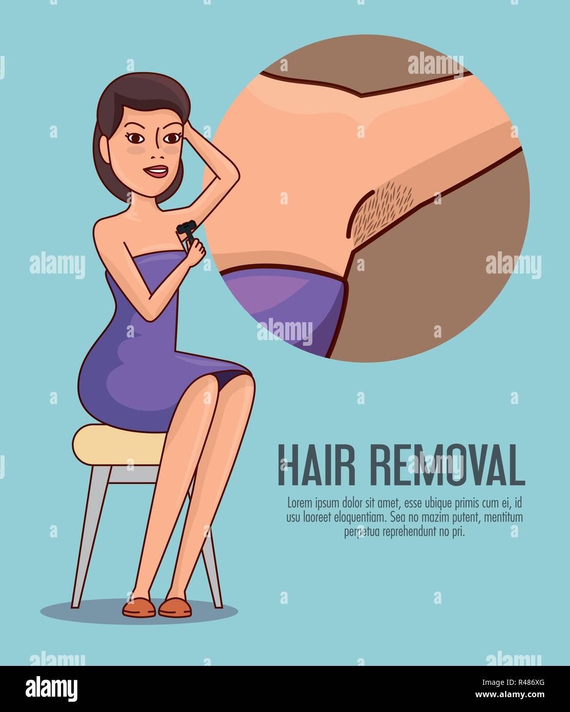 Woman Armpit With Hair Removal Icons Vector Illustration Design