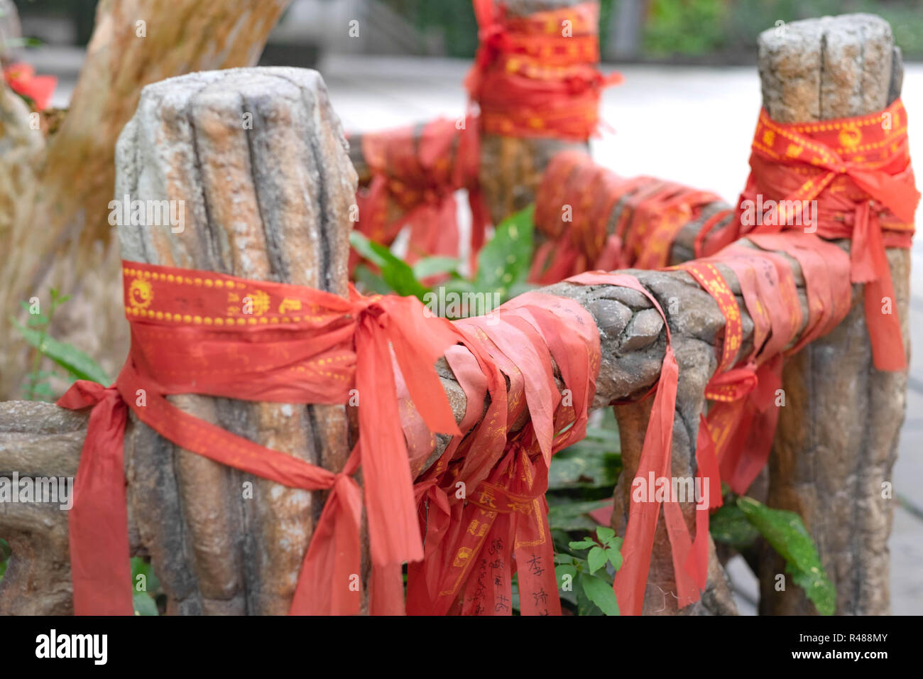 CHIBI,  HUBEI/ CHINA, OCT 25, 2018: Chinese style red pray ribbons in temple. - Stock Image