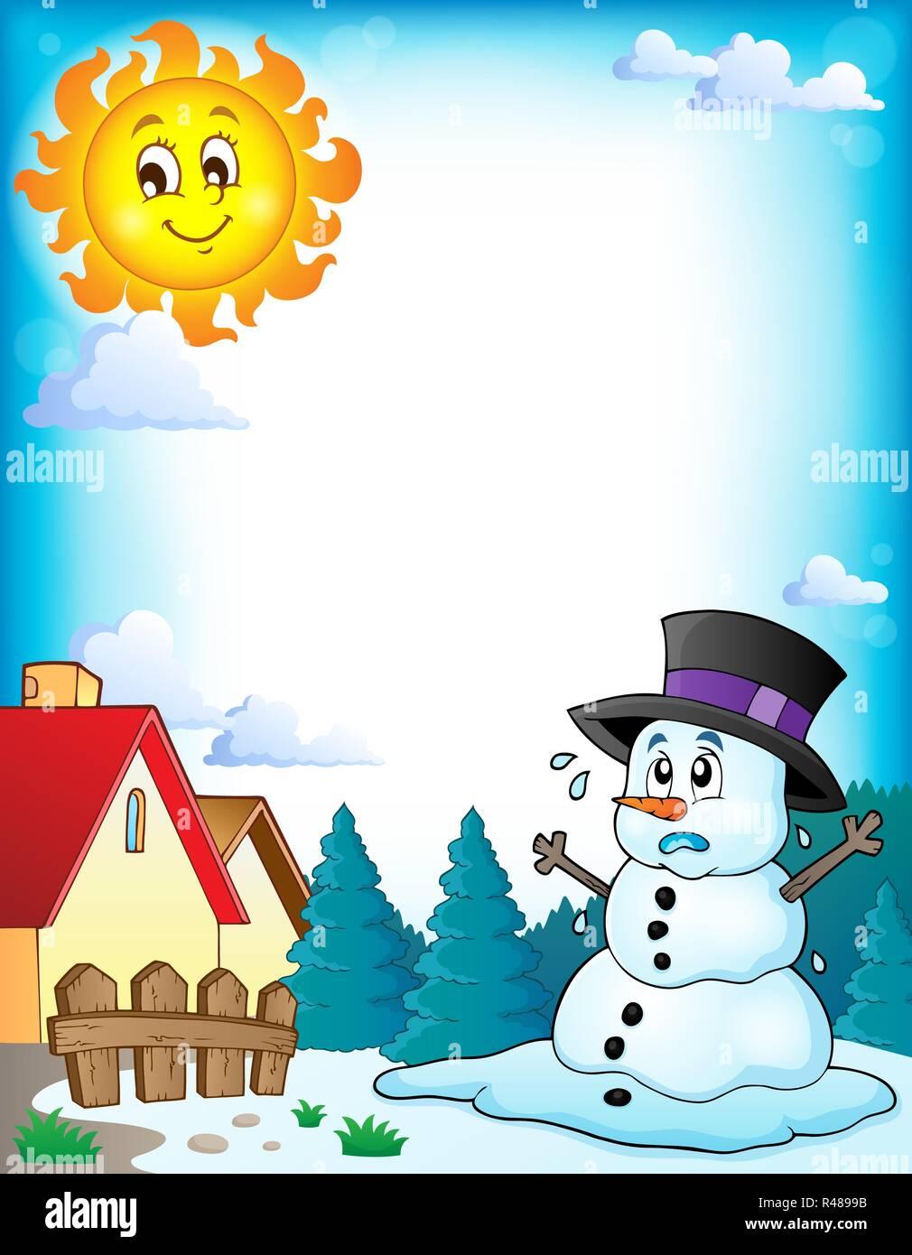 Melting Snowman Sun Stock Photos & Melting Snowman Sun Stock