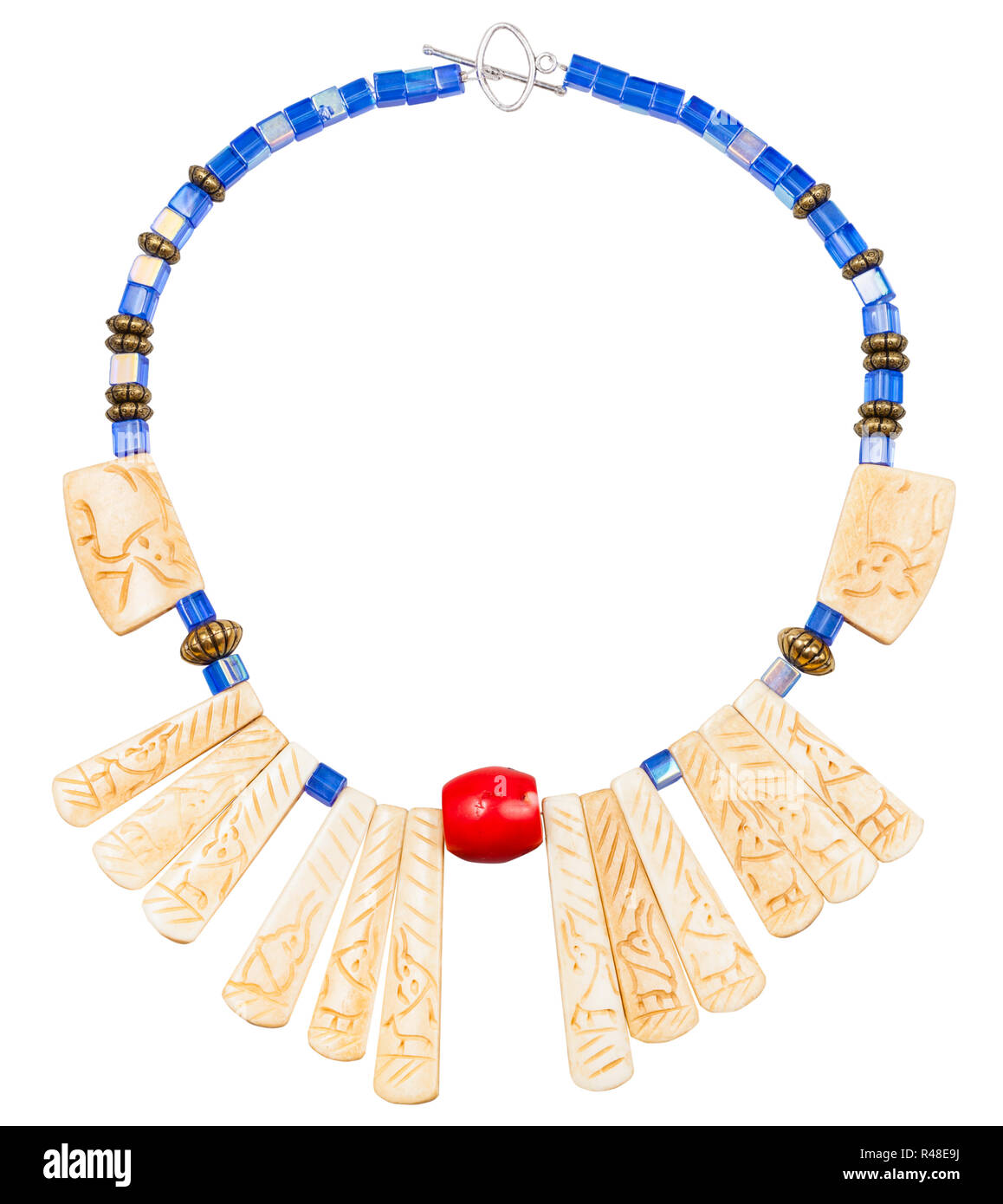 Necklace From Carved Bone And Blue Glass Beads Stock Photo Alamy