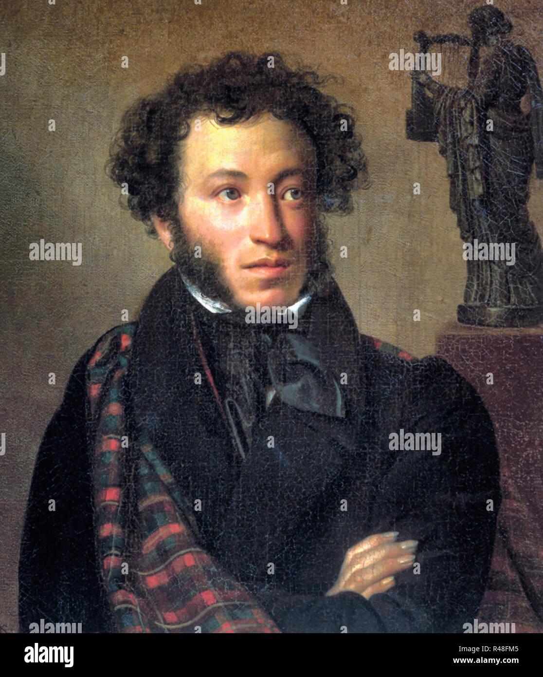 Portrait of Alexander Pushkin - Orest Kiprensky, circa 1827 - Stock Image