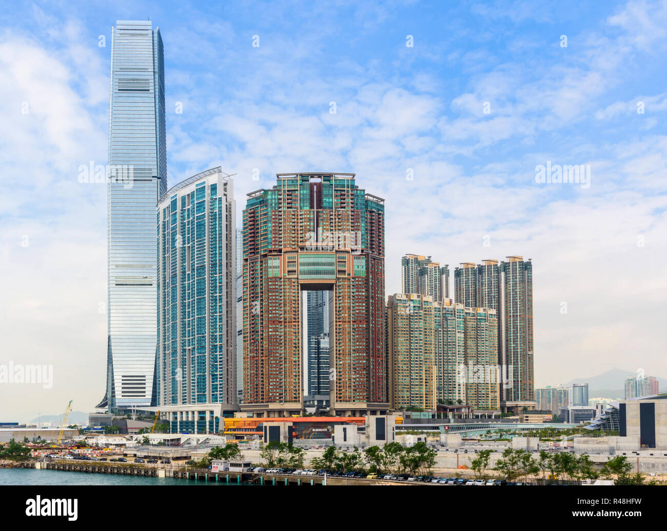Hong Kong development of Union Square including the International Commerce Centre, The Harbourside and The Arch, West Kowloon, Hong Kong - Stock Image