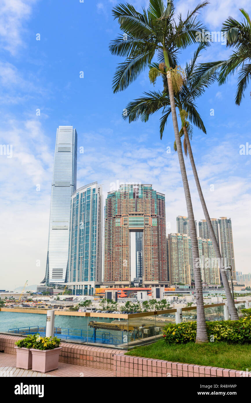 The new Hong Kong development of Union Square including the International Commerce Centre, The Harbourside and The Arch, West Kowloon, Hong Kong - Stock Image