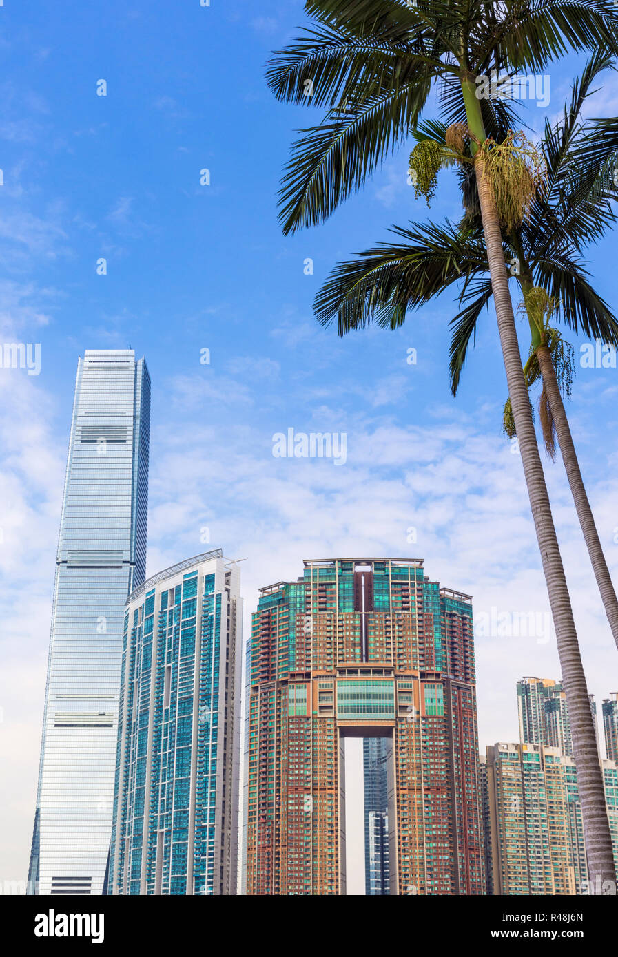 Detail of the Hong Kong development of Union Square including the International Commerce Centre, The Harbourside and The Arch, West Kowloon, Hong Kong - Stock Image