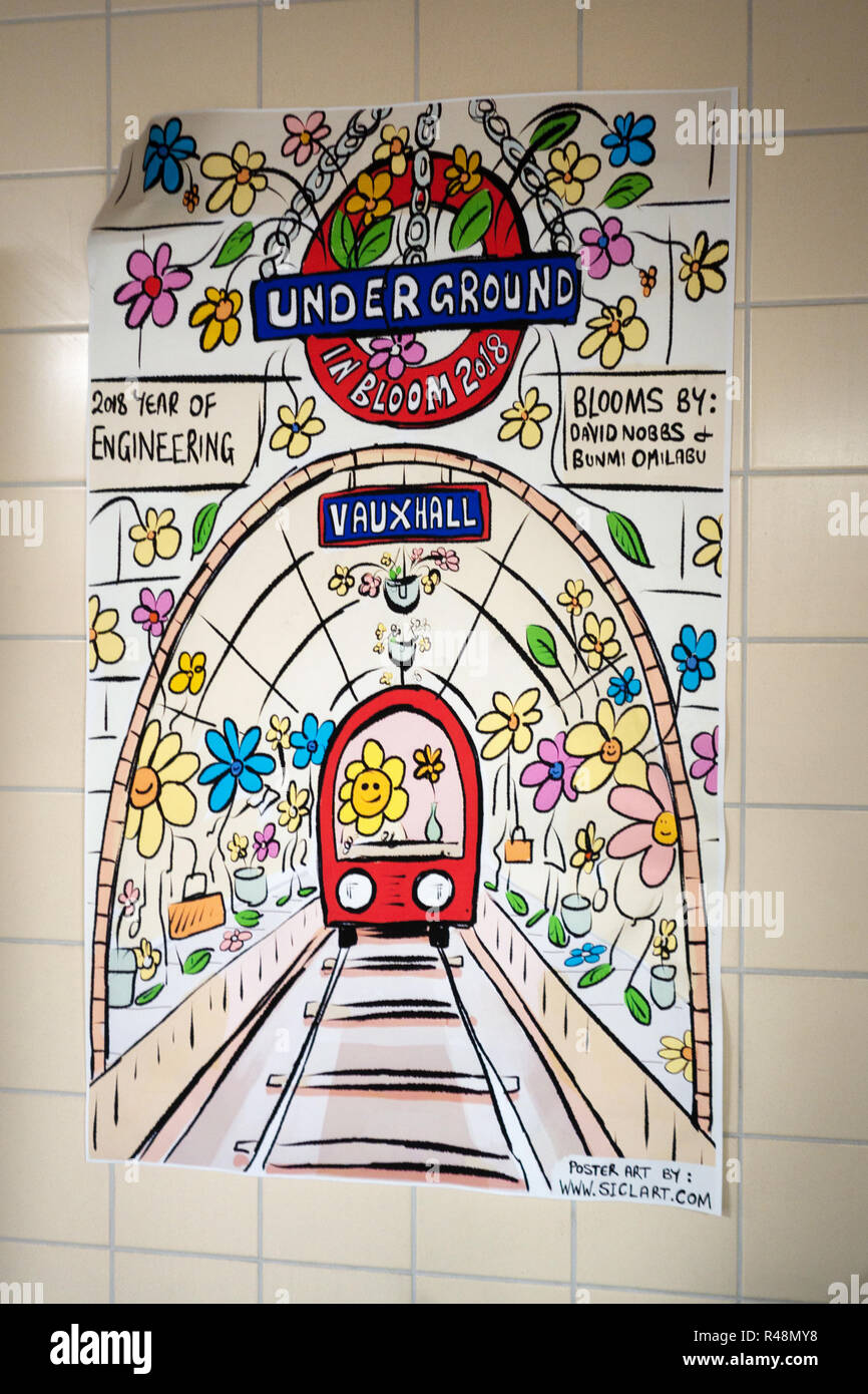 Underground artwork poster at Vauxhall Tube Station - Stock Image