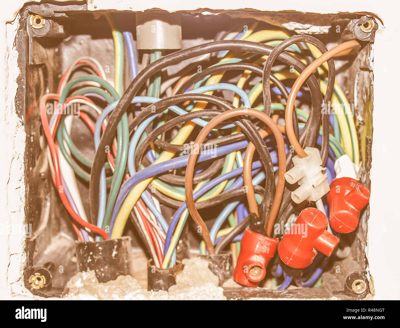 Junction Box Wiring Stock Photos Images Openreach Vintage Image