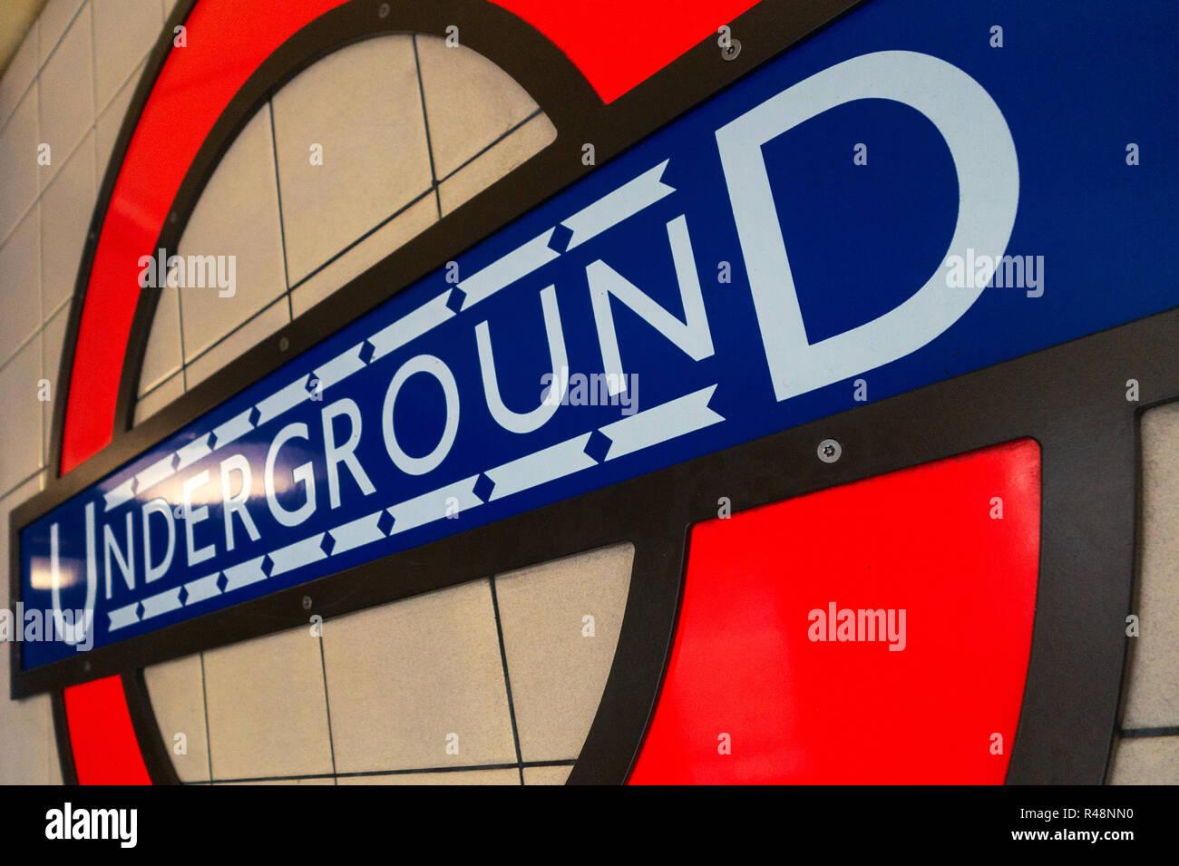 London Iconic Underground Tube Logo sign - Stock Image