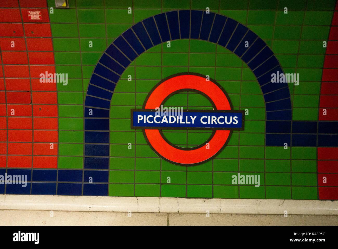 Piccadilly Circus London Iconic Underground Tube sign Logo - Stock Image