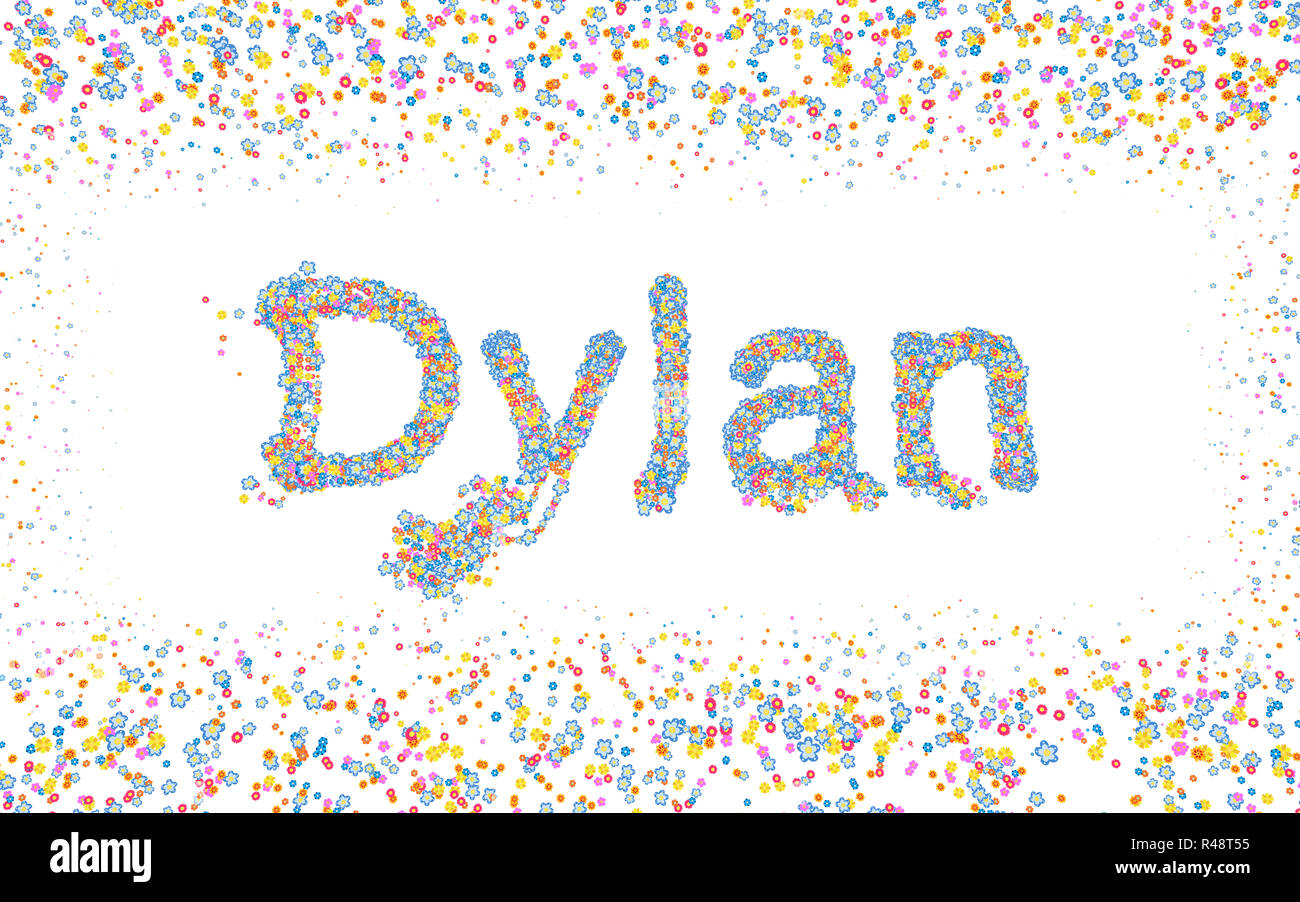Dylan, Male name coated with various colorful flowers Stock Photo
