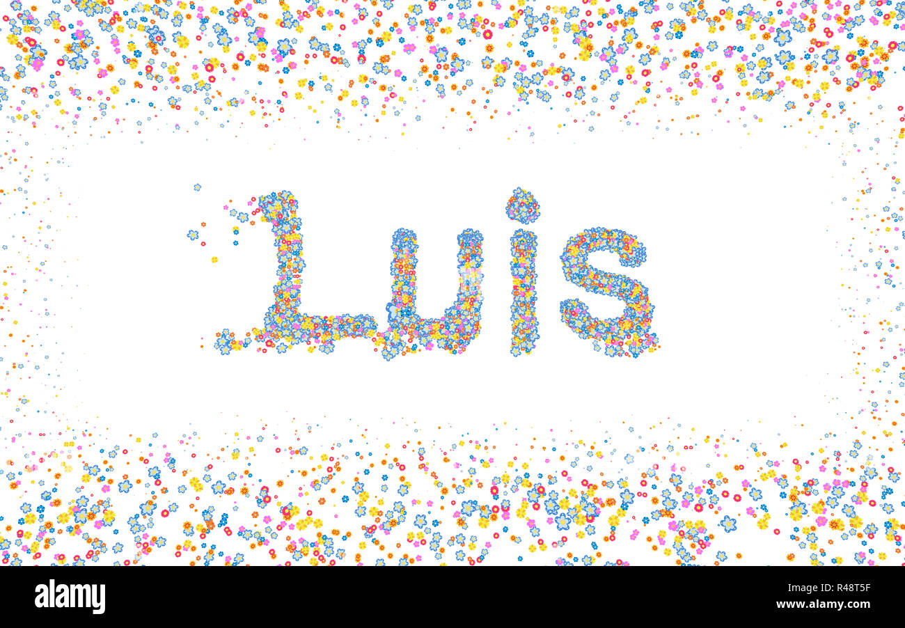 Luis, Male name coated with various colorful flowers Stock Photo