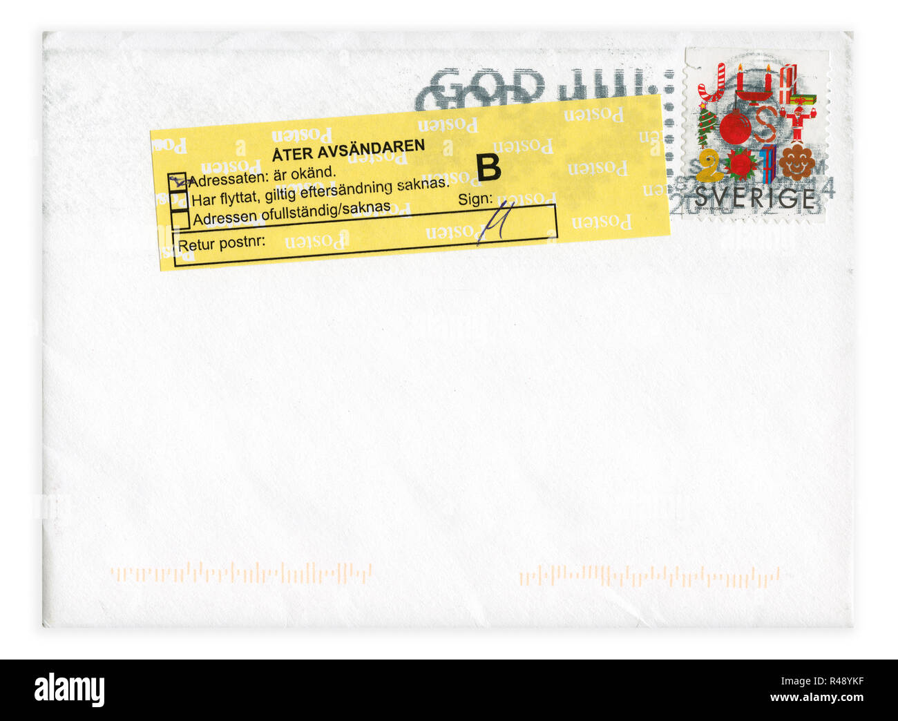 Postage stamp from Sweden in the Christmas 2010 series - Stock Image