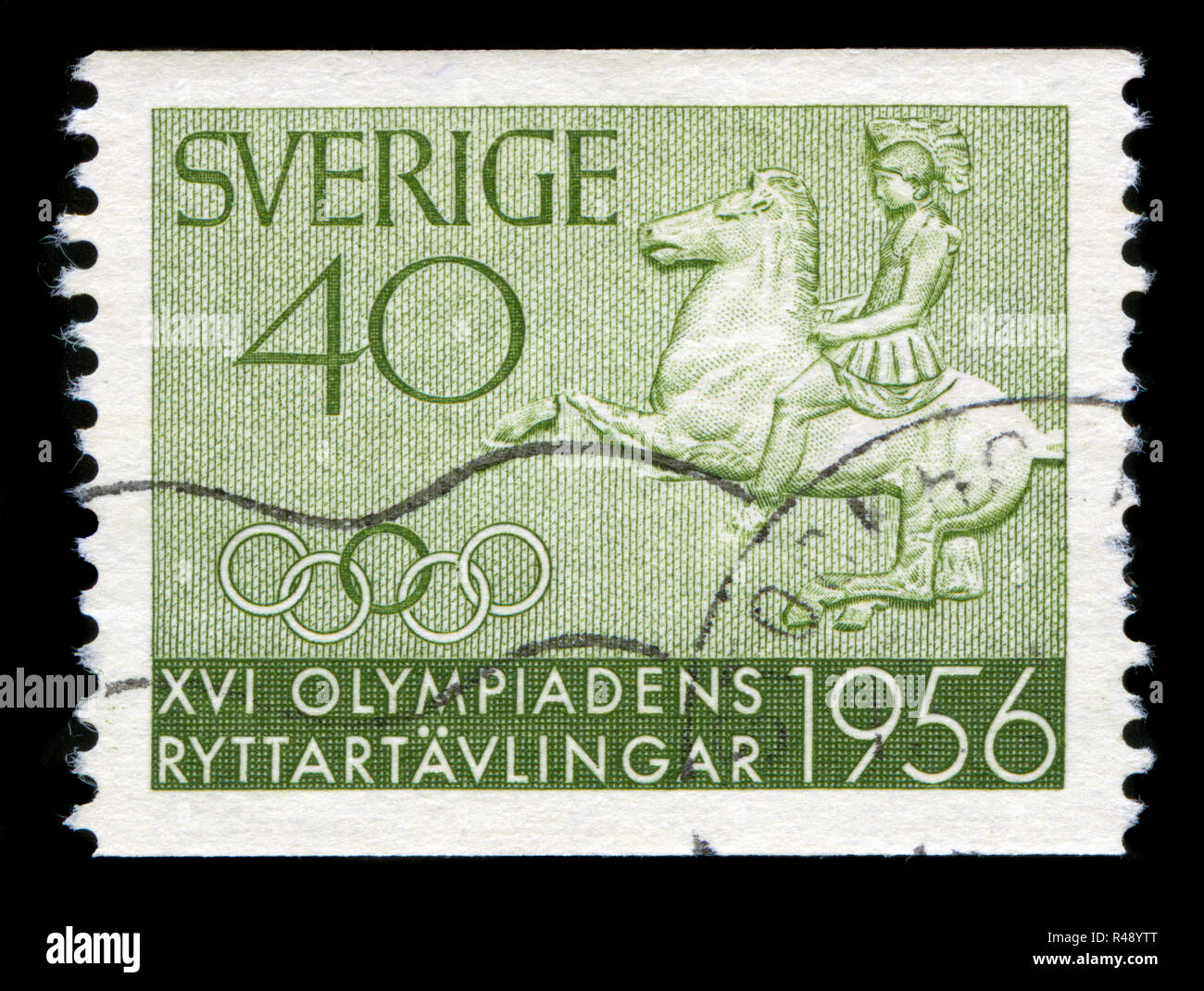 Postage stamp from Sweden in the Equestrian Olympics series issued in 1956 - Stock Image