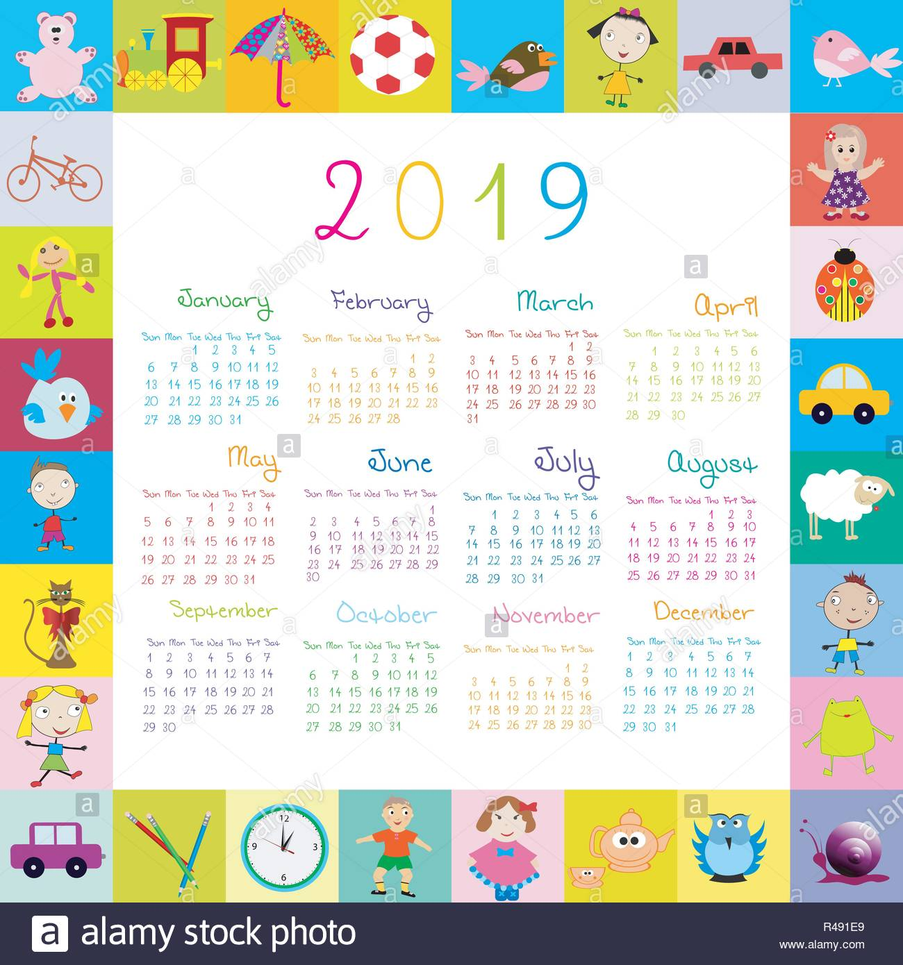 Calendario Para Kinder 2019.Frame With Toys 2019 Calandar For Kids Stock Vector Art