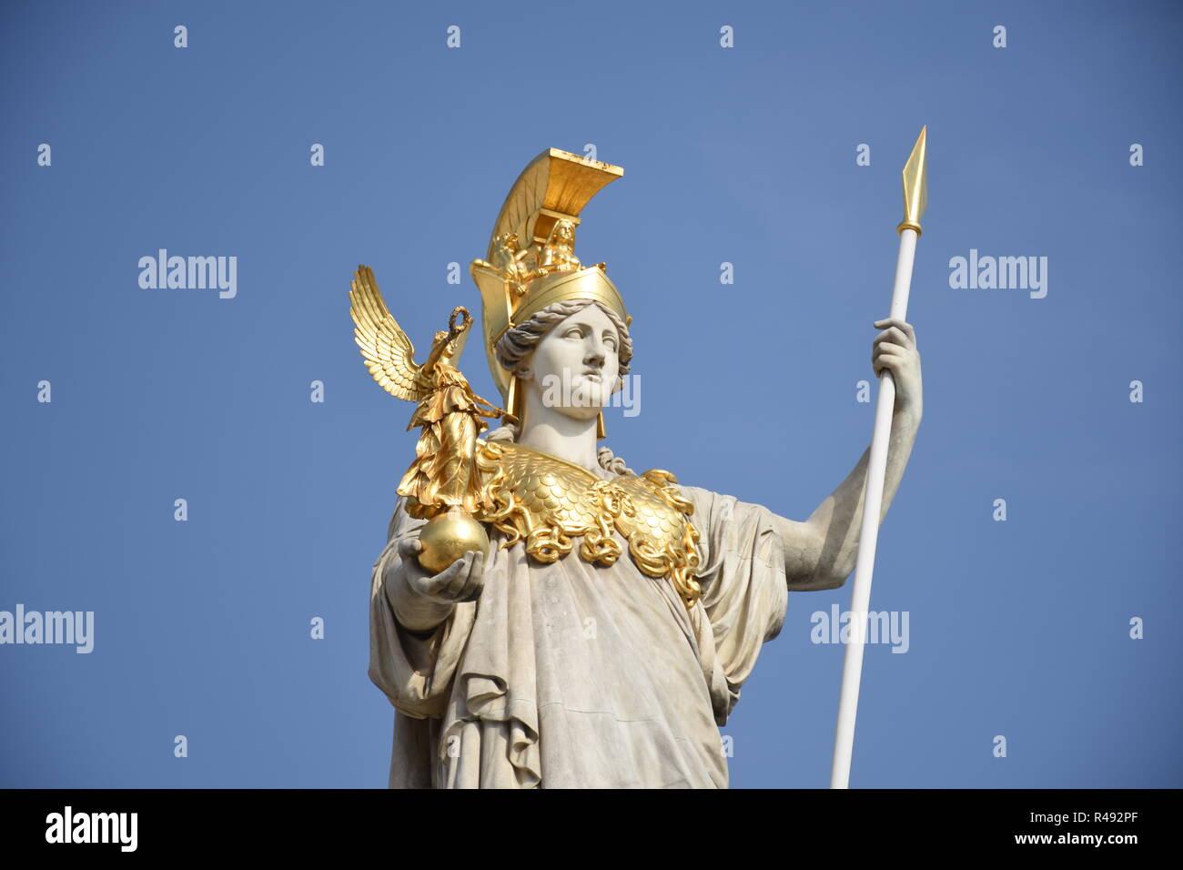 pallas athena fountain,pallas athena,statue,parliament vienna,parliament,vienna,dr. karl renner ring,ring road - Stock Image