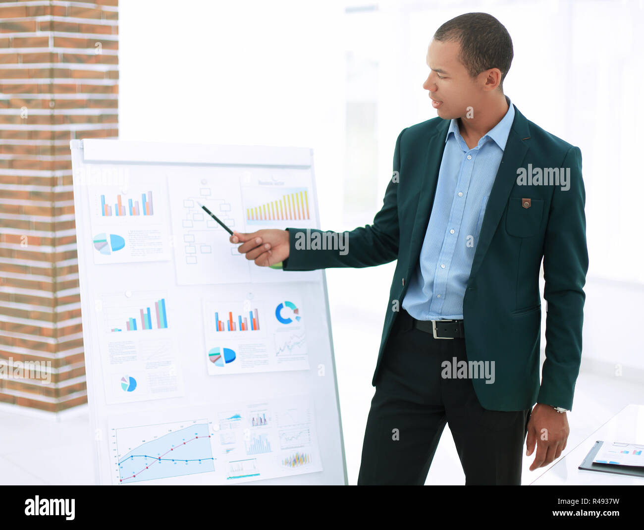 young businessman making presentation of a new financial project - Stock Image