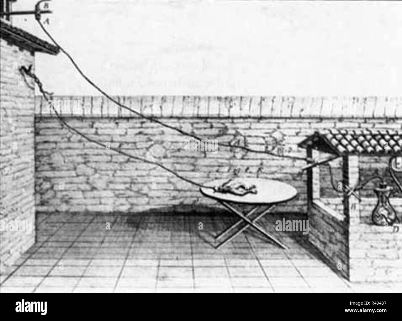 late 1780s diagram of galvanis experiment on frog legs R49437 frog legs black and white stock photos & images alamy