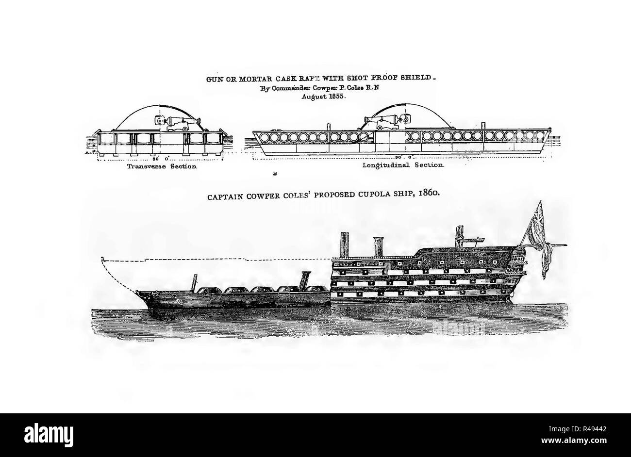 Captain Cowper Coles' proposed cupola ship, 1860. - Stock Image