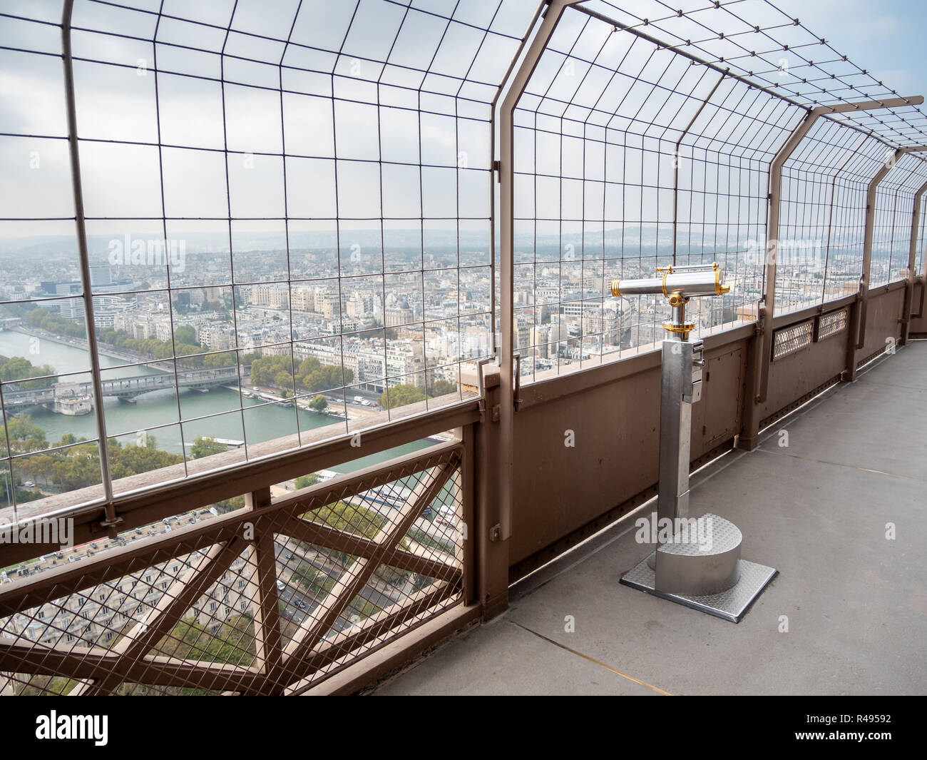 View of Walk Up Telescope in the Eiffel Tower West Side - Stock Image
