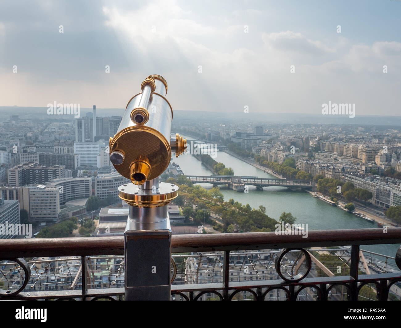 View of Gold and Silver Telescope Looking East of the Eiffell Tower - Stock Image