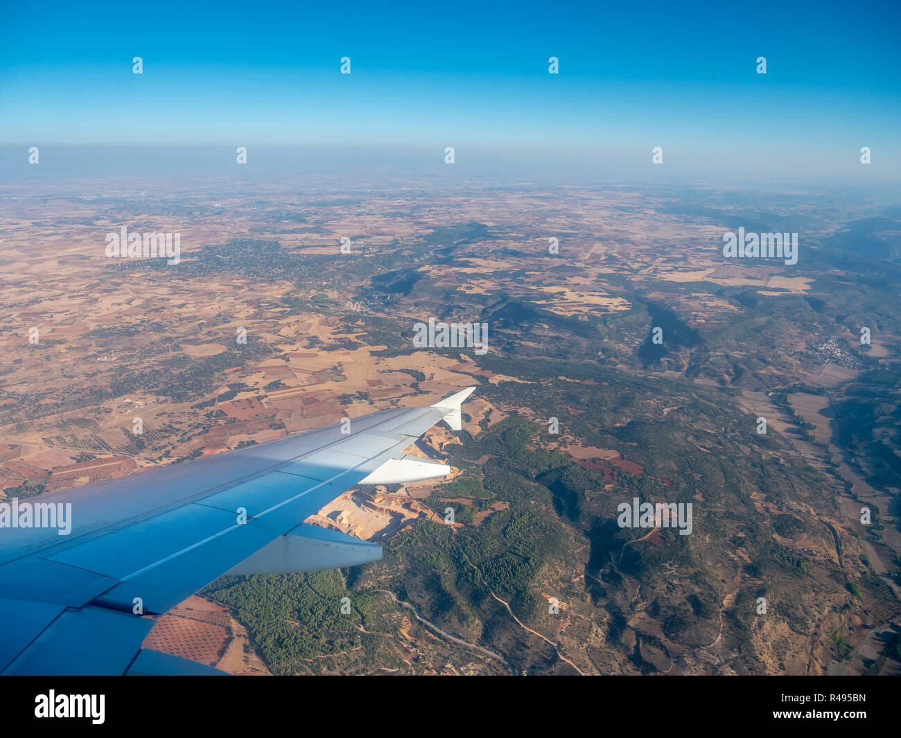 Aerial View of Spanish Country Side From the Window of Airplane - Stock Image