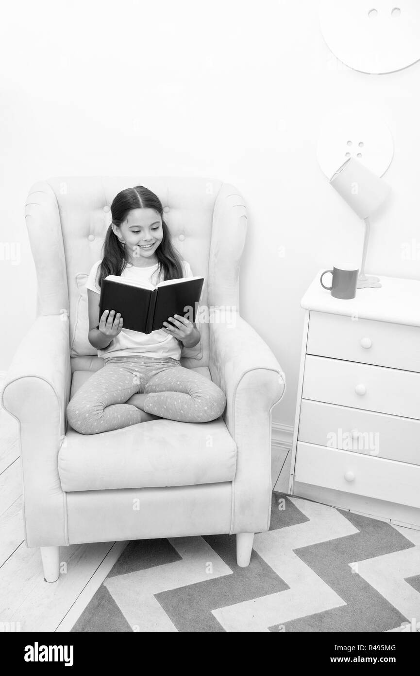 Awe Inspiring Reading Is Her Hobby Girl Child Sit Yellow Armchair Read Pabps2019 Chair Design Images Pabps2019Com