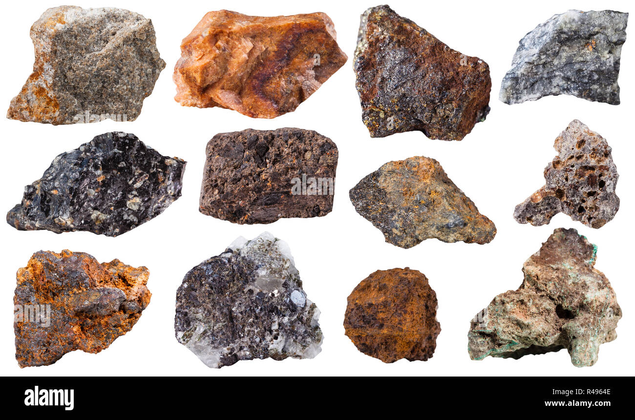 set from 12 pieces mineral stones - Stock Image