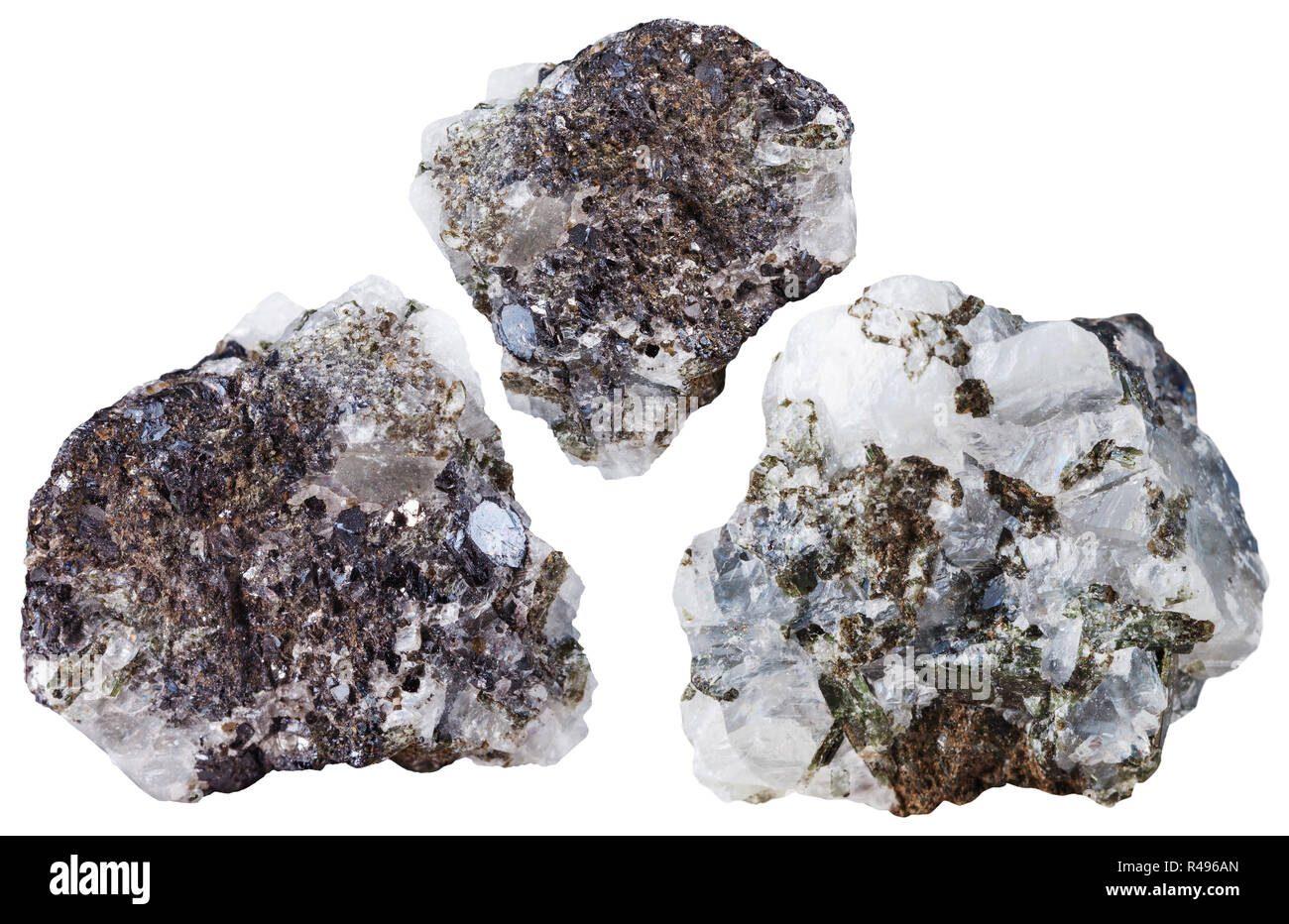 three pieces of Sphalerite mineral stone - Stock Image
