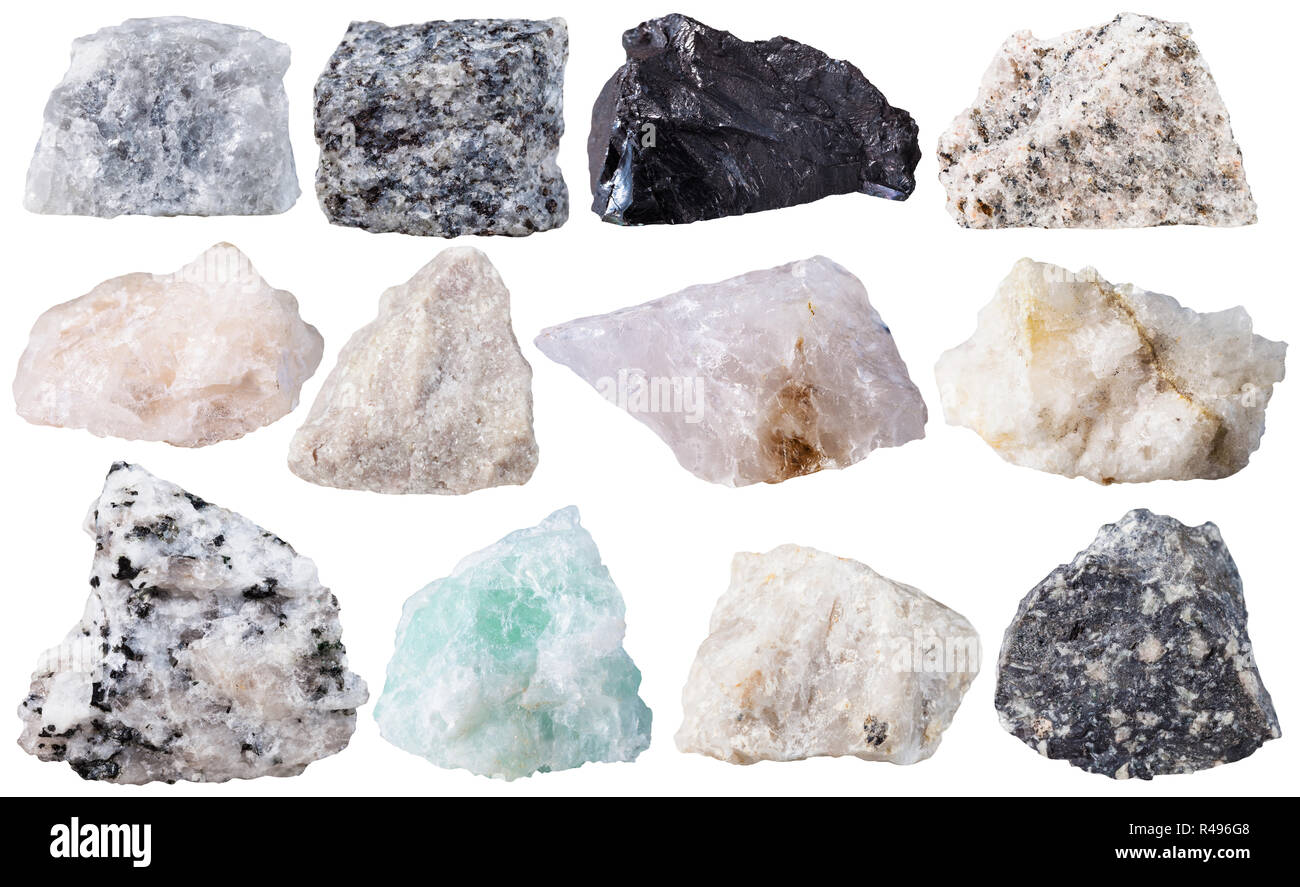 set from 12 specimens of mineral stones isolated - Stock Image