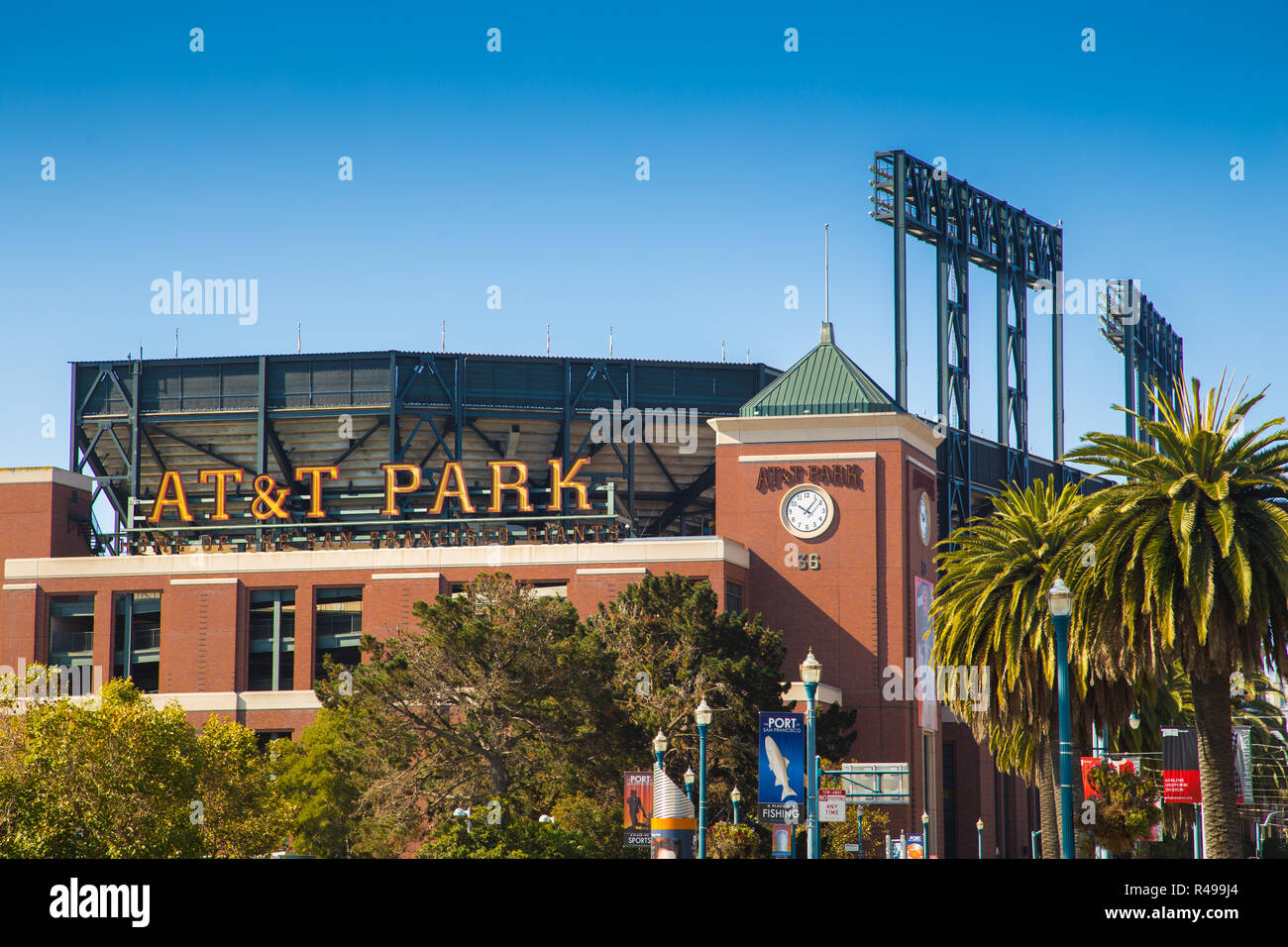Panorama view of historic AT&T Park baseball park, home of the San Francisco Giants professional baseball franchise, on a beautiful sunny day - Stock Image