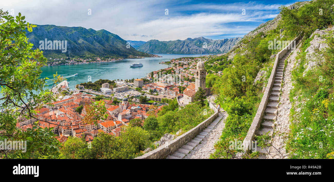 Classic panorama view of the historic Church of Our Lady of Remedy overlooking the old town of Kotor and world-famous Bay of Kotor, Montenegro, southe - Stock Image