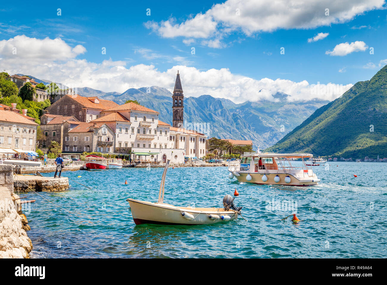 Historic town of Perast at Bay of Kotor in summer, Montenegro, Balkans - Stock Image