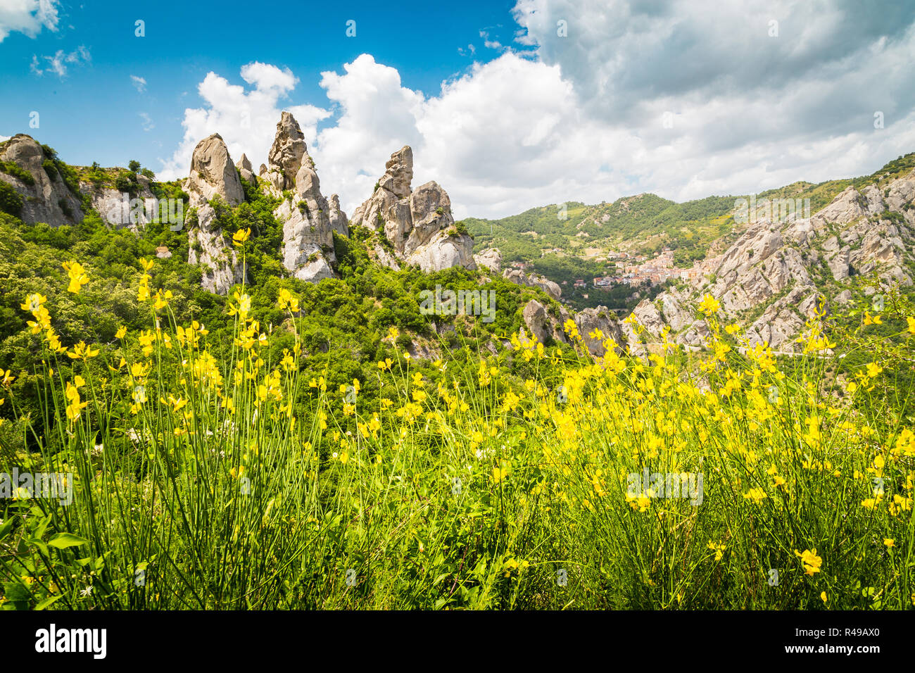 Panoramic view of famous Lucan Dolomites with beautiful mountain village of Castelmezzano in summer, Basilicata, Italy Stock Photo