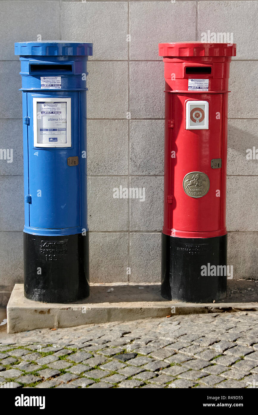 Blue and red mailboxes Stock Photo