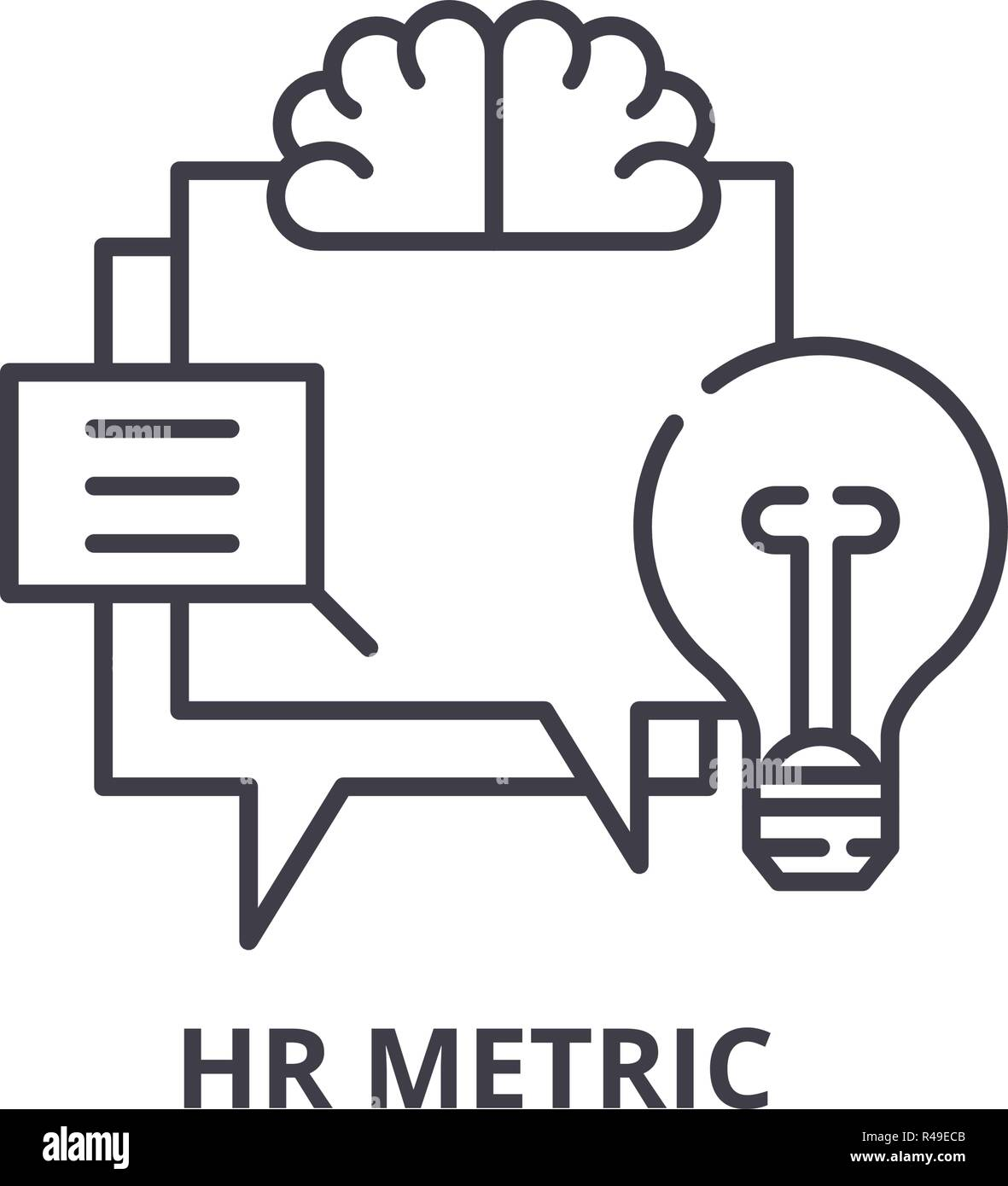 Hr metric line icon concept. Hr metric vector linear illustration, symbol, sign - Stock Vector