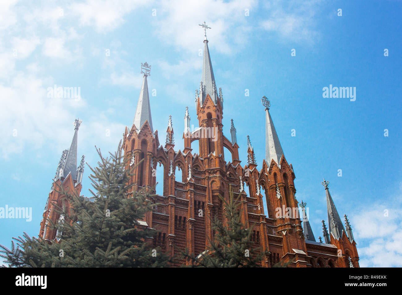 Cathedral of the Immaculate Conception of the Blessed Virgin Mary in Moscow. Neo-Gothic cathedral, the largest Catholic cathedral in Russia, the cathe - Stock Image