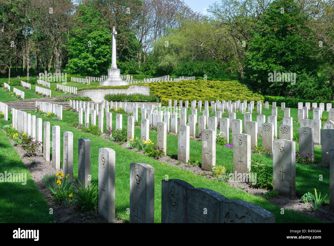 British war grave, view of headstones of British soldiers who fought in two world wars in the Garrison Cemetery in Poznan (Posen), Poland - Stock Image