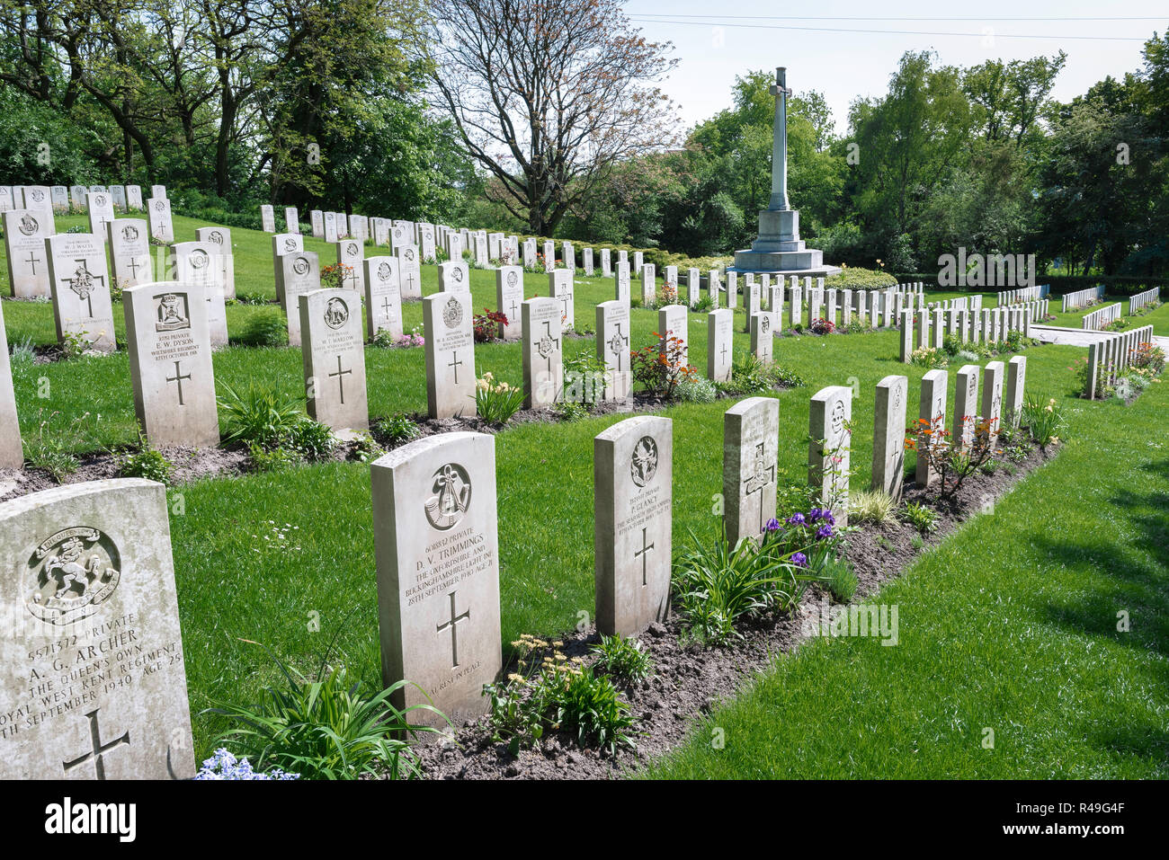 British Commonwealth war grave, view of headstones of British soldiers who fought in two world wars in the Garrison Cemetery in Poznan (Posen), Poland Stock Photo