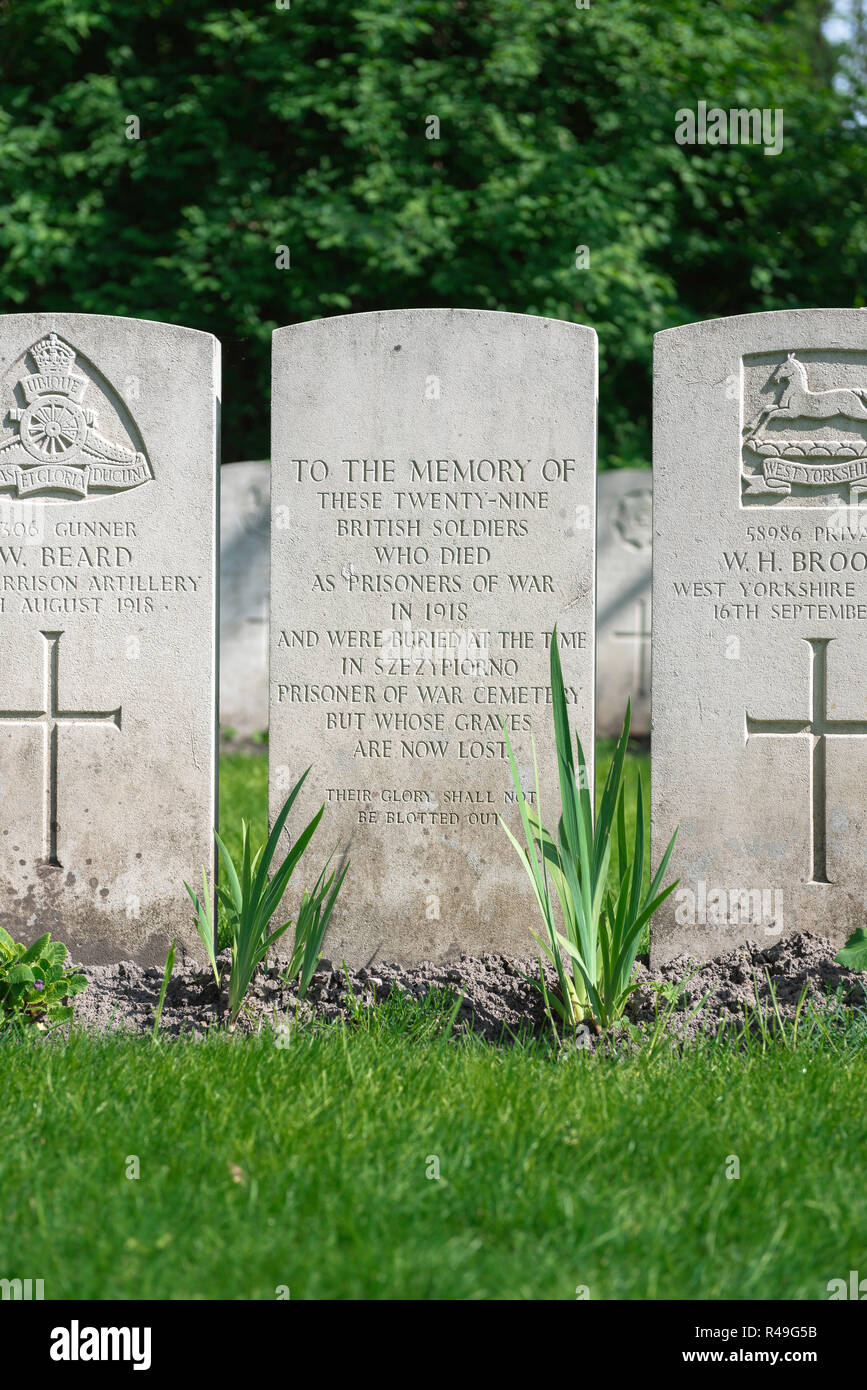 British Commonwealth war grave, headstones marking the graves of known and unknown British soldiers in the Garrison Cemetery in Poznan (Posen), Poland - Stock Image