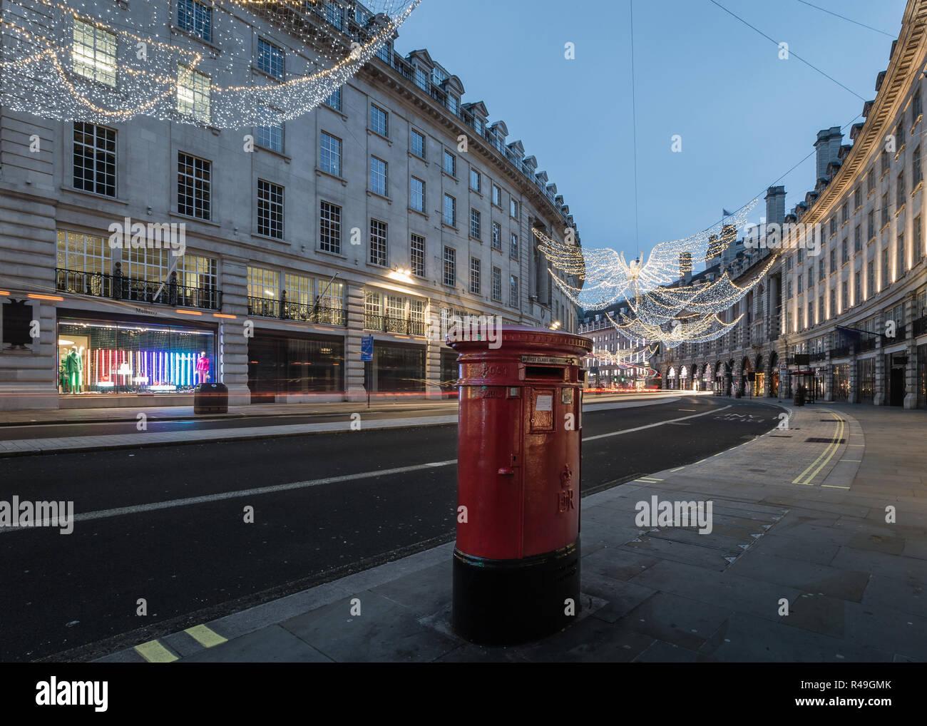 Christmas lights at dawn on Regent Street Stock Photo