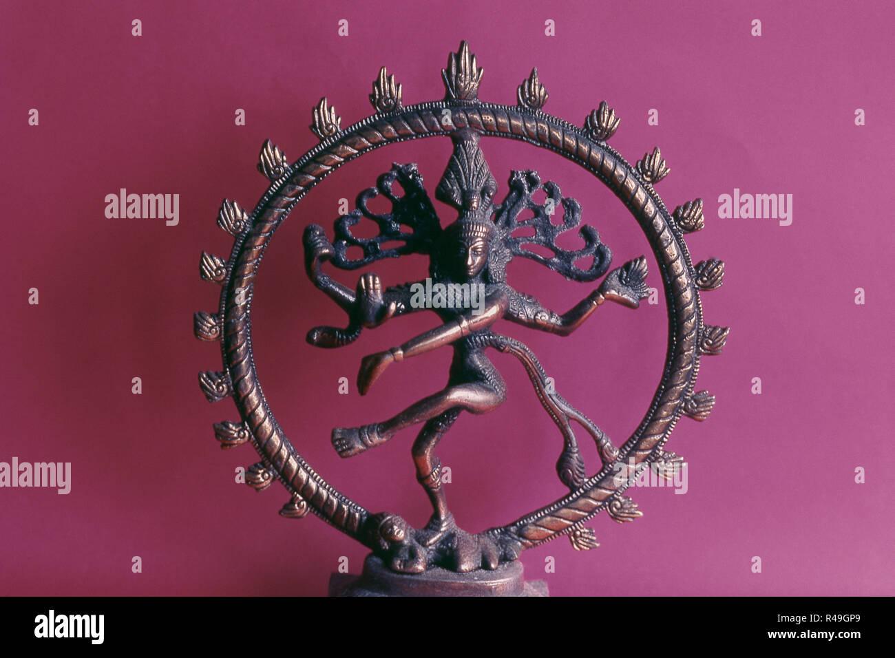 Close up of Nataraja, Shiva lord of cosmic dance, India, Asia - Stock Image