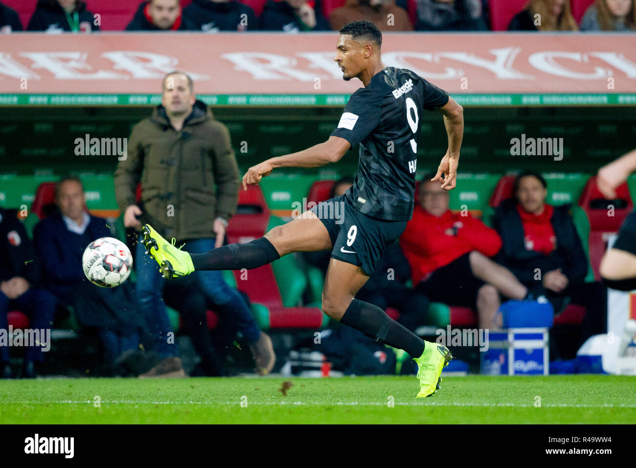 Sebastian HALLER (# 9, F). Soccer, FC Augsburg (A) - Eintracht Frankfurt (F) 1: 3, Bundesliga, 12.matchday, season 2018/2019, on 24/11/2018 in Augsburg/WWKARENA/Germany. Editorial note: DFL regulations prohibit any use of photographs as image sequences and/or quasi-video. ¬   usage worldwide - Stock Image