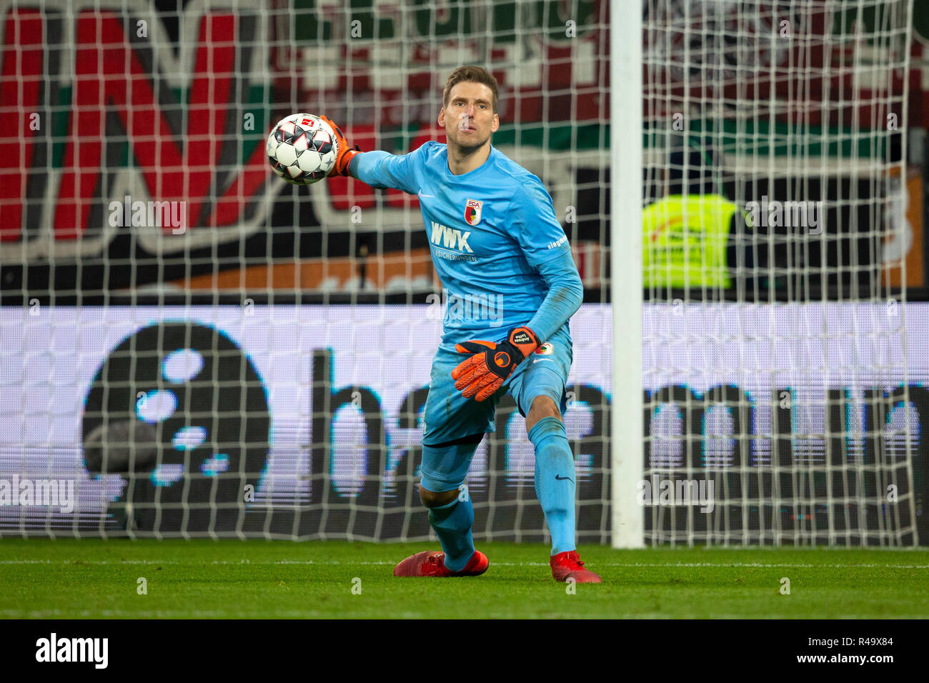 Goalkeeper Andreas LUTHE (# 1, A). Soccer, FC Augsburg (A) - Eintracht Frankfurt (F) 1: 3, Bundesliga, 12.matchday, season 2018/2019, on 24/11/2018 in Augsburg/WWKARENA/Germany. Editorial note: DFL regulations prohibit any use of photographs as image sequences and/or quasi-video. ¬   usage worldwide - Stock Image