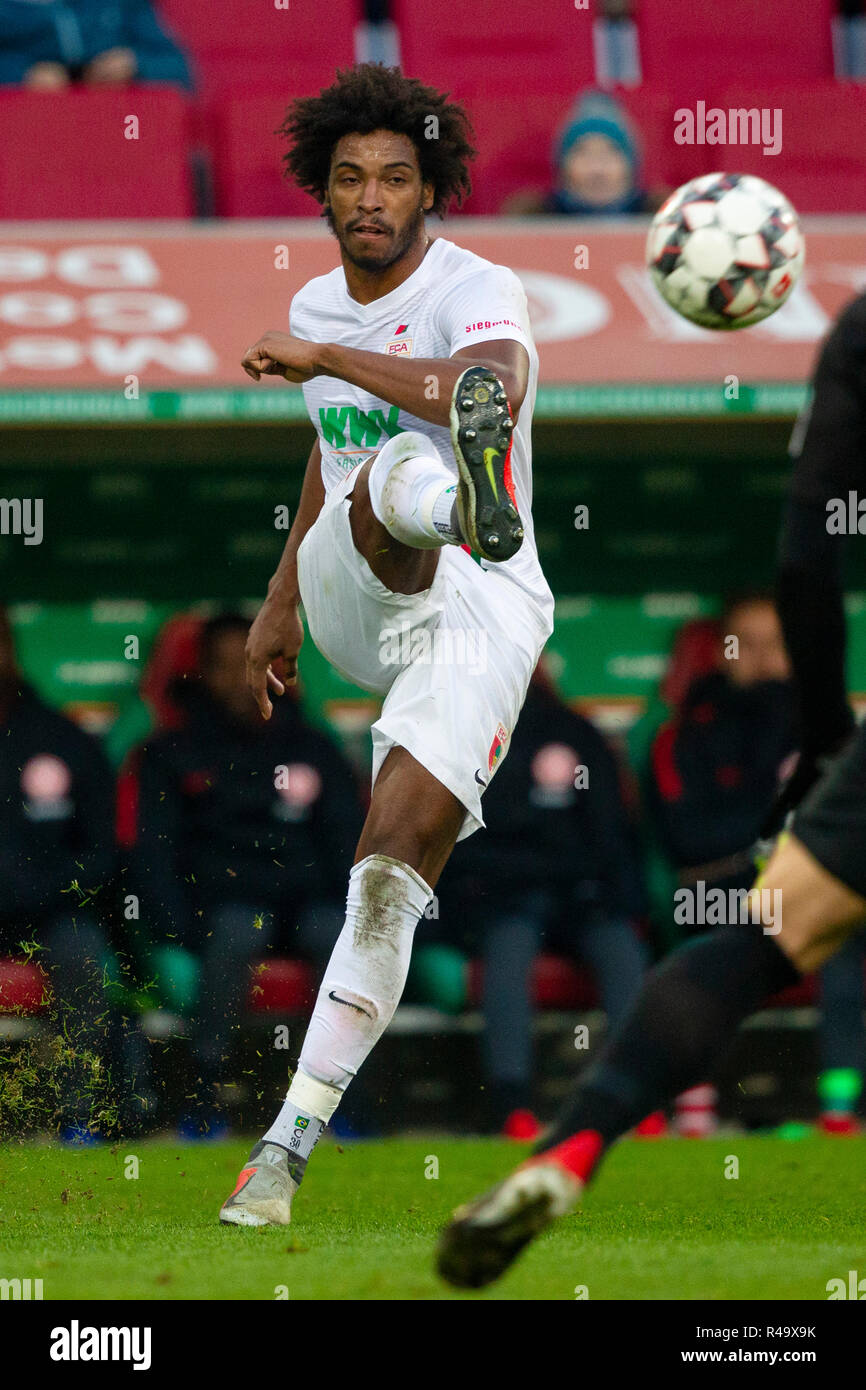 CAIUBY (CAIUBY-DA SILVA) (# 30, A). Soccer, FC Augsburg (A) - Eintracht Frankfurt (F) 1: 3, Bundesliga, 12.matchday, season 2018/2019, on 24/11/2018 in Augsburg/WWKARENA/Germany. Editorial note: DFL regulations prohibit any use of photographs as image sequences and/or quasi-video. ¬   usage worldwide - Stock Image