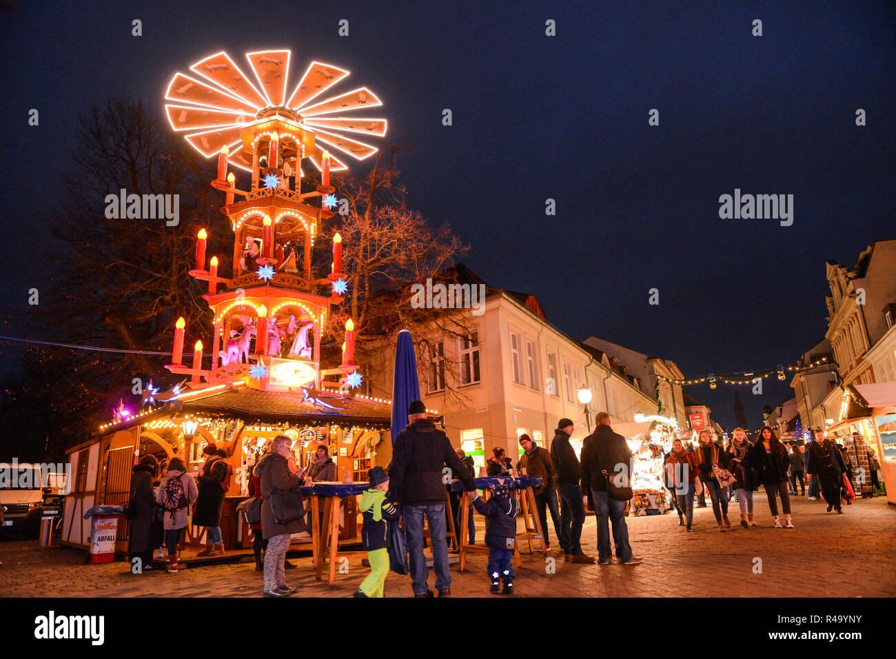 Potsdam Christmas Market 2020 Potsdam, Germany. 26th Nov, 2018. Visitors walk over the Christmas